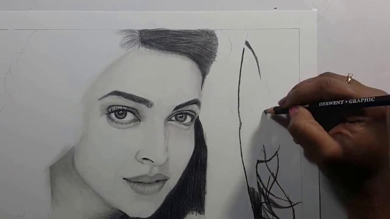 Realistic pencil drawing of indian bollywood actress deepika padukone 2017