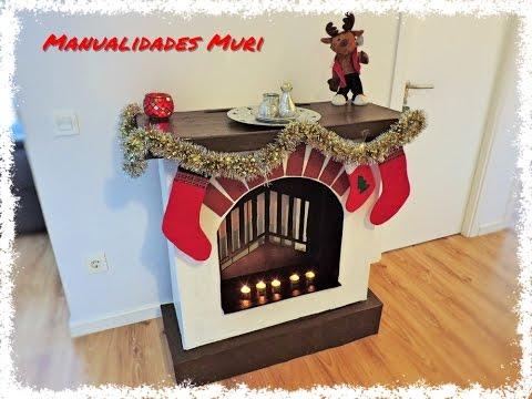 Chimenea decorativa de cart n para navidad manualidades - Chimeneas de pared ...