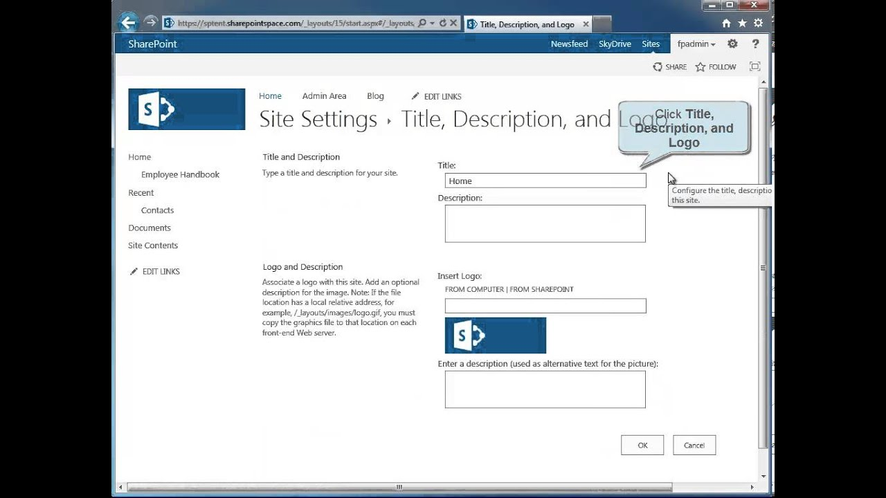 How to Change the Title of a SharePoint 2013 Site - SharePoint 2013 ...