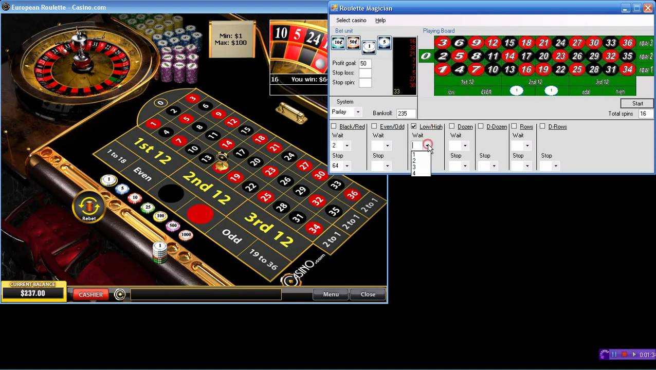 Roulette robot system craps with cards california
