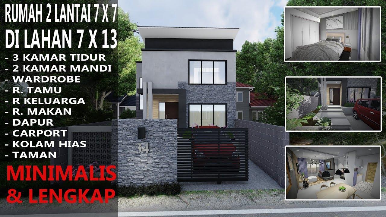 Desain Rumah 2 lantai ukuran 7x7 dilahan 7x13 dengan 3 ...