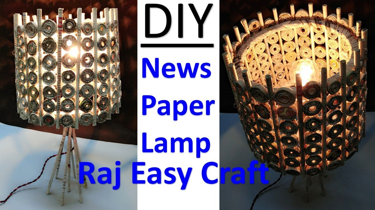 How to make newspaper lamp | best out of waste | newspaper craft ... for Paper Chandelier Craft  557yll