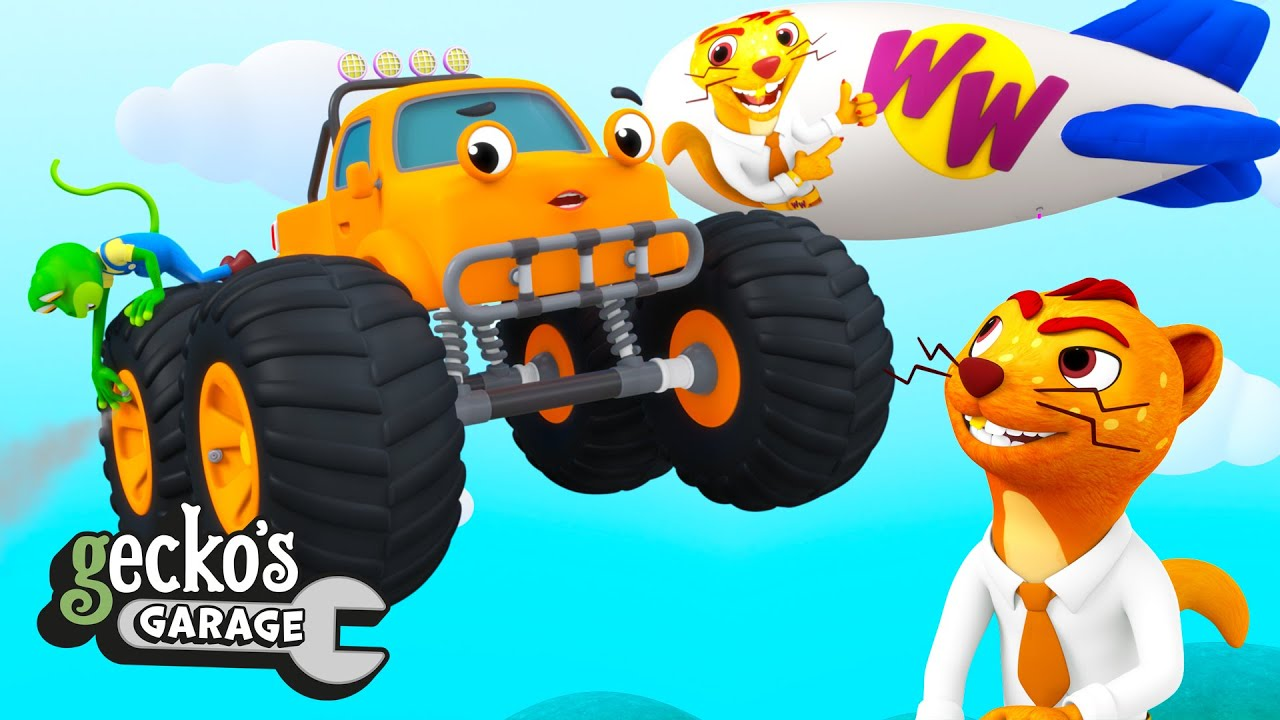 Monster Truck Balloon Tyres|Gecko's Garage|Funny Cartoon For Kids|Learning Videos For Toddlers