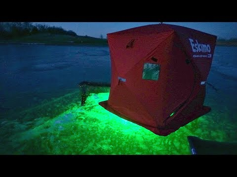 INSANE Ice Fishing W/ Glow Lights At Night!!!
