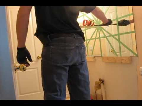 Remove Mirror Glued To Wall breaking bathroom mirror with hammer - youtube