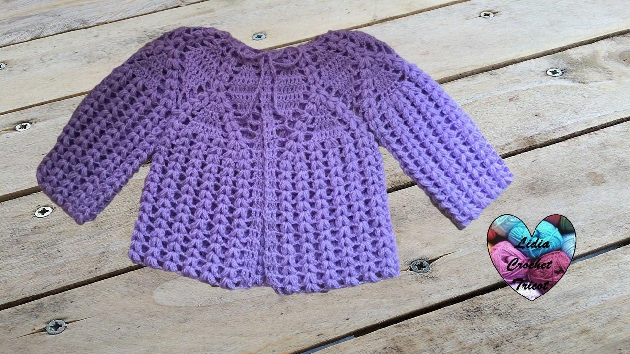 70962f46689e7 Magnifique brassière bébé au crochet 1 2   Chaquetita bebe tejida a crochet  - YouTube