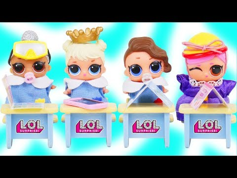 LOL Surprise Dolls Dress Up in School for Lil Sisters School Adoption - Toy Mystery Blind Bag Video