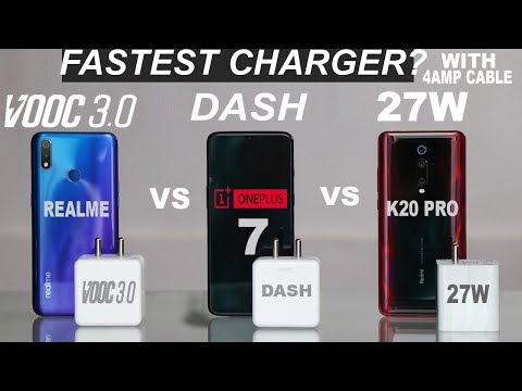 27W SUPER FAST VS VOOC 3.0 VS DASH #FASTEST CHARGER#K20 PRO#RM3PRO#ONE PLUS 7