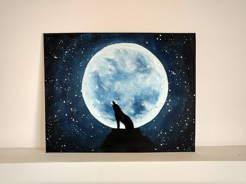 Paint Wolf Howling At The Moon Night Sky Acrylic