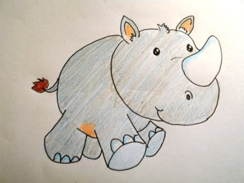 Rhinoceros drawing for kids - photo#28