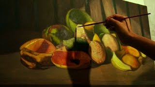 Realistic Still-life with Fruits - Time-lapse Oil Painting by JM Lisondra