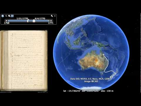 James Cook's first voyage in 20 seconds on GoogleEarth