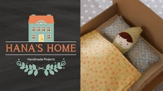 Hana's Home Homemade Project #4: Doll's Cardboard Bed, Blanket & Pillow; Cute Bed, Blanket & Pillow!