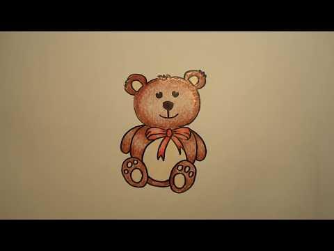 ตุ๊กตาหมี สอนวาดรูปการ์ตูนน่ารักง่ายๆ ระบายสี How to Draw Teddy Bear Cartoon for Kids