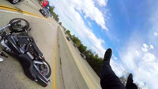 Motorcycle crash caused by STUPID driver