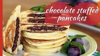 How to Make CHOCOLATE STUFFED PANCAKES