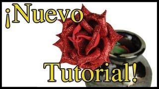 TUTORIAL: Bolígrafo decorado con Rosa de Fomi - Manualidades con Moldes de Flores