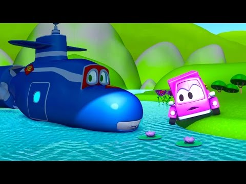 Carl the Super Truck transforms into a Submarine to help the Little Pink Car in Car City | Cartoons