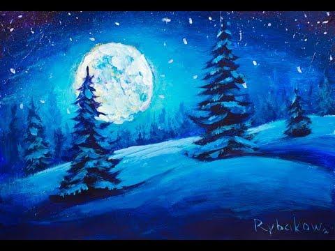 Как нарисовать зиму легко и красиво