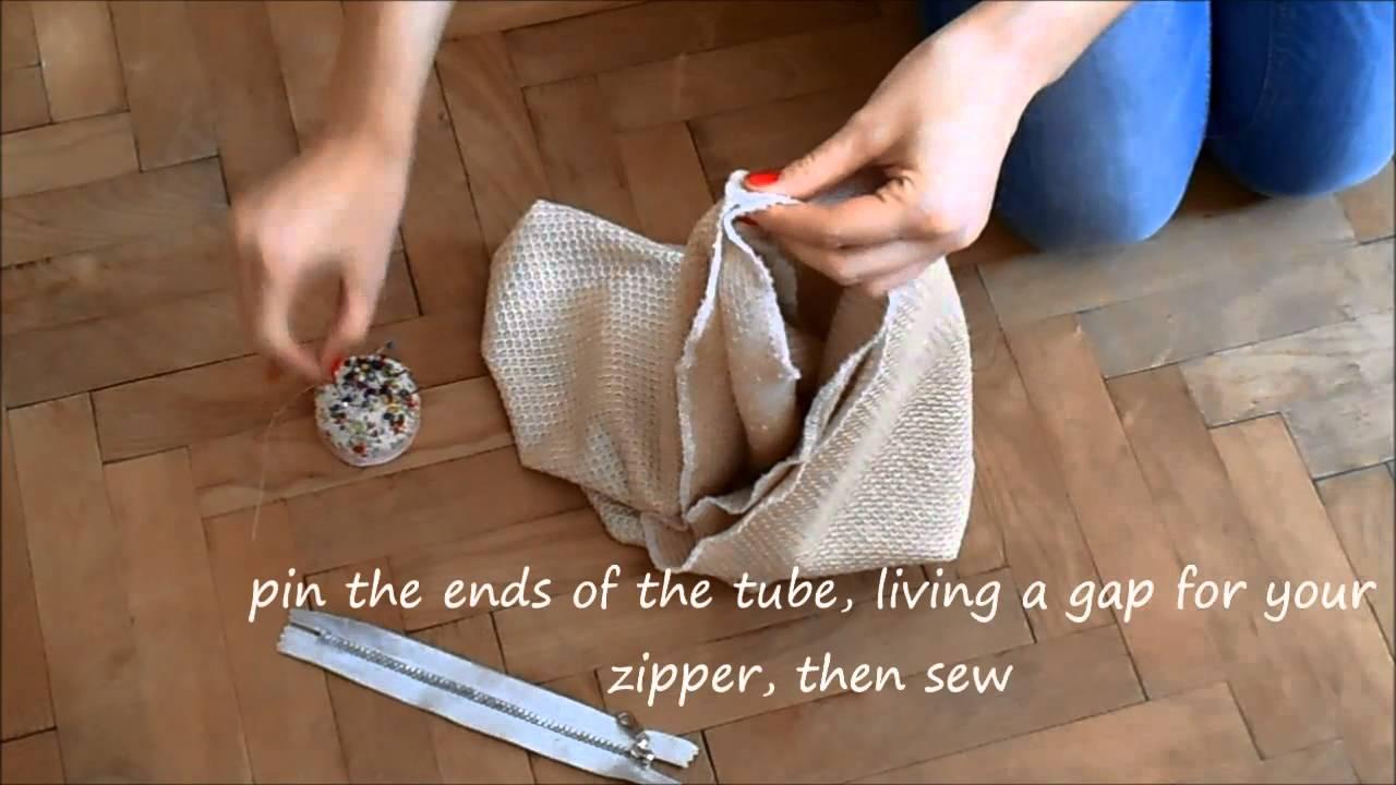 diy hidden pocket infinity scarf - YouTube