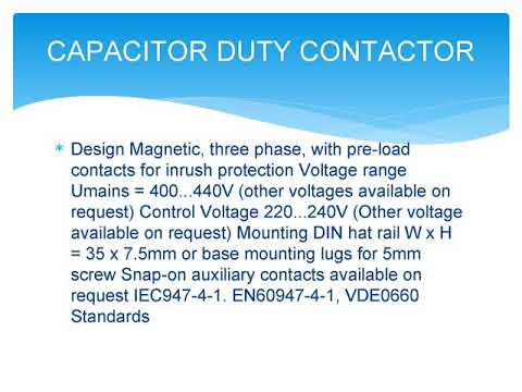 Capacitor Duty Contactors, Manufacturer, Exporter, Supplier, Importer, India