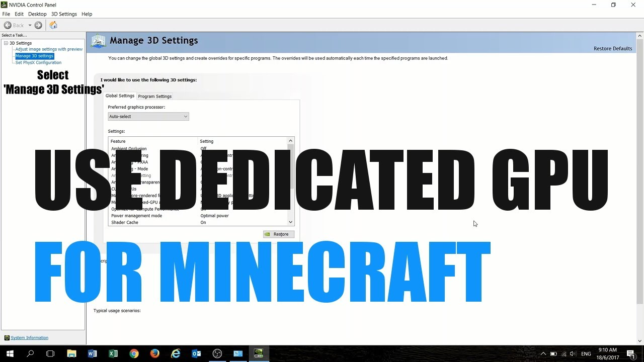 Minecraft not using dedicated GPU