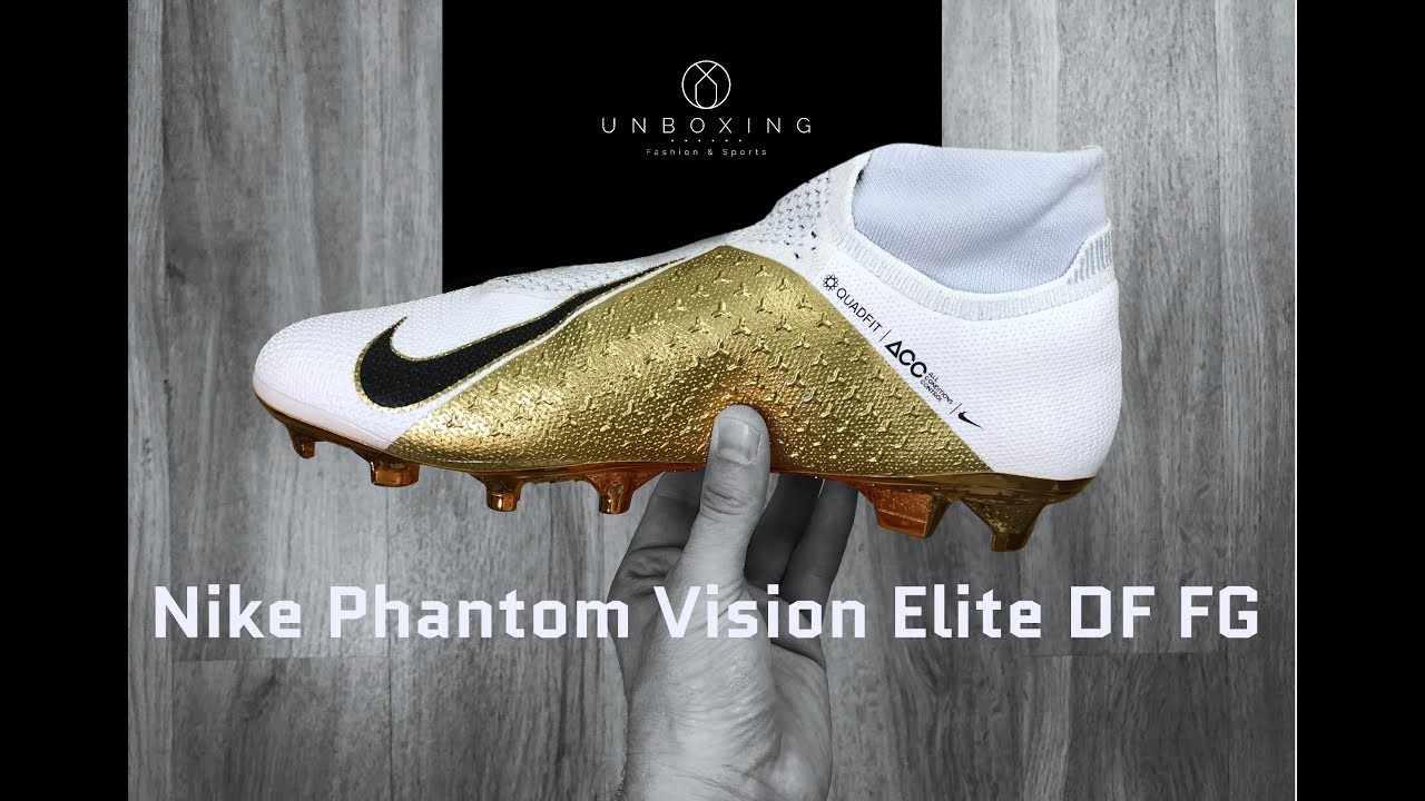 Nike Phantom Vision Elite DF FG Limited Edition 'white/gold' | UNBOXING & ON FEET | football boots