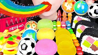 ASMR GUMMY JELLY PARTY 구미, 젤리 먹방 GIANT HAMBURGER, COKE JELLY, RAINBOW GUMMY, ROLL CAKE EATING SOUNDS
