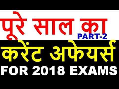 TOP BEST / LAST ONE YEAR CURRENT AFFAIRS COMPLETE  SUMMARY IN HINDI for ALL EXAMS part 2