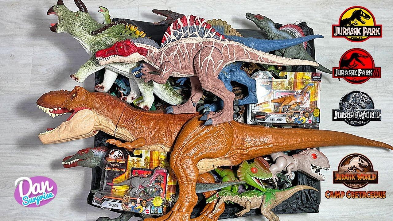 COLOSSAL BOX of 120 Dinosaurs & Prehistoric Animals of Jurassic World Camp Cretaceous Jurassic Park