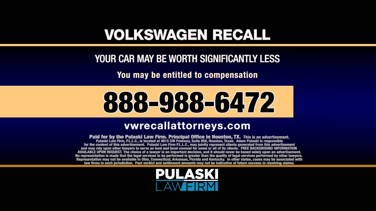 Pulaski Law Firm >> Pulaski Law Firm Volkswagen Recall Attorneys File Your