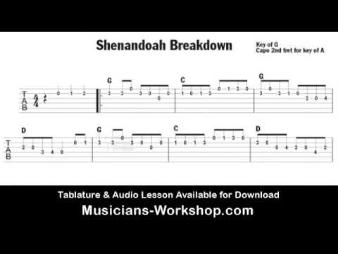 Shenandoah Breakdown Bluegrass Guitar Lesson Tab & Audio - YouTube