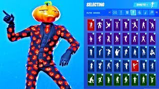*UPDATED* Fortnite Jack Gourdon Skin Outfit Showcase with All Dances & Emotes
