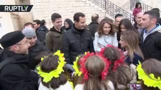 الرئيس الأسد وأولاده في زيارة لميتم الأطفال في دير سيدة صيدنايا