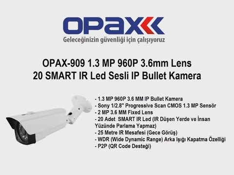 OPAX-909 1.3 MP 960P 3.6mm Lens 20 SMART IR Led Sesli IP Bullet Kamera