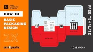How to Basic Packaging Design in Adobe Illustrator (shape tools -path stroke -box template design) screenshot 1