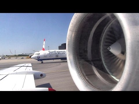 Full Engine View: Startup, Takeoff and Landing. Fokker 70. Wien to Minsk. Flight OS687