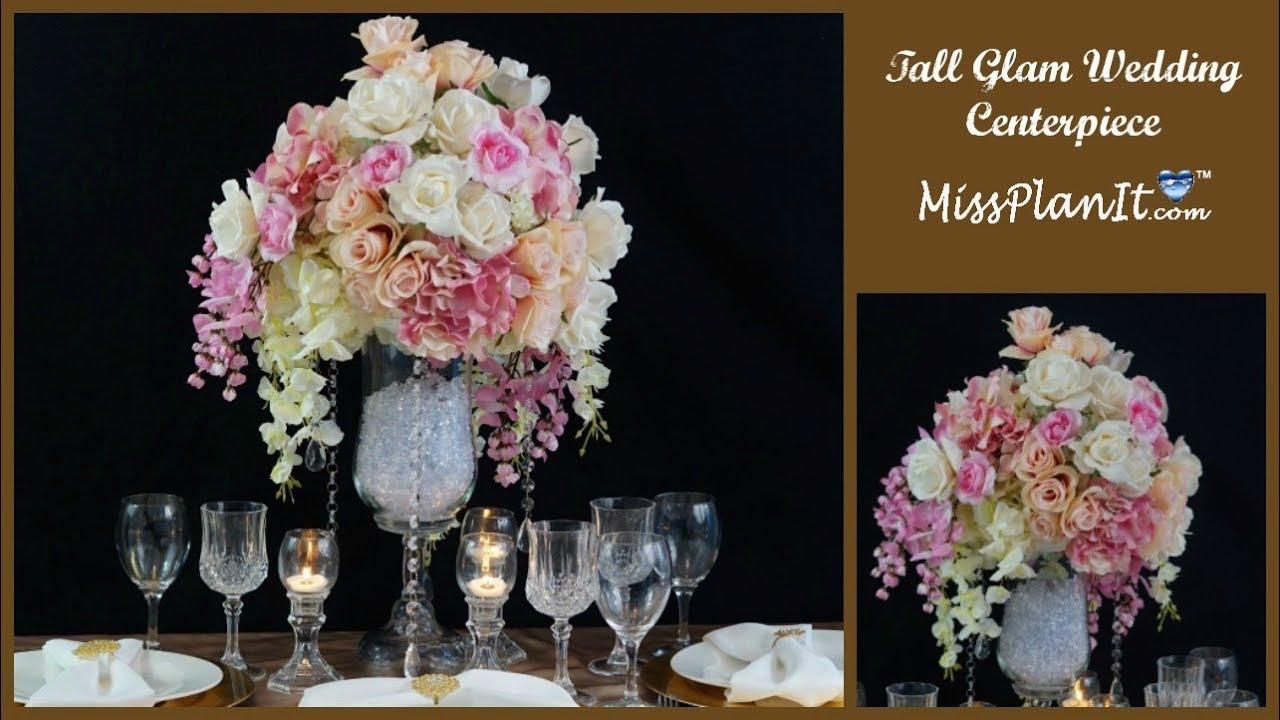 Diy tall glam wedding centerpiece glamorous