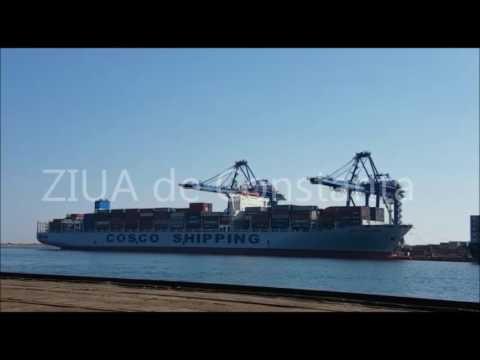Navă gigant în Portul Constanţa. Cosco Shipping Danube transportă mii de containere