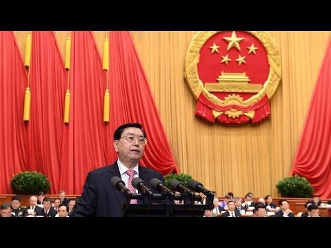 China's top legislator delivers work report