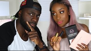 BOYFRIEND Guesses Beauty Product Prices! | Jackie Aina