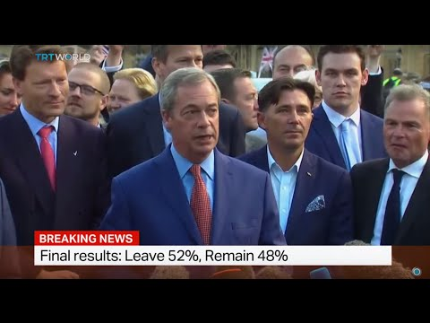 Leader of UK Independence Party Nigel Farage adresses the media after Brexit results