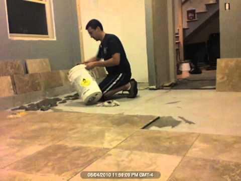 Tiling with Travertine Time Lapse