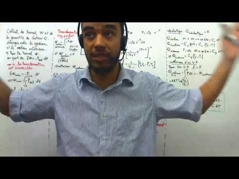 Résumé Thermodynamique 1, 01 Calcul de travail W et de la quantité de chaleur Q