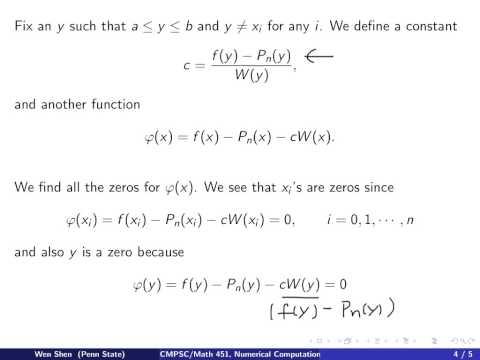 ch2 7: Error Theorem for Polynomial Interpolation. Wen Shen