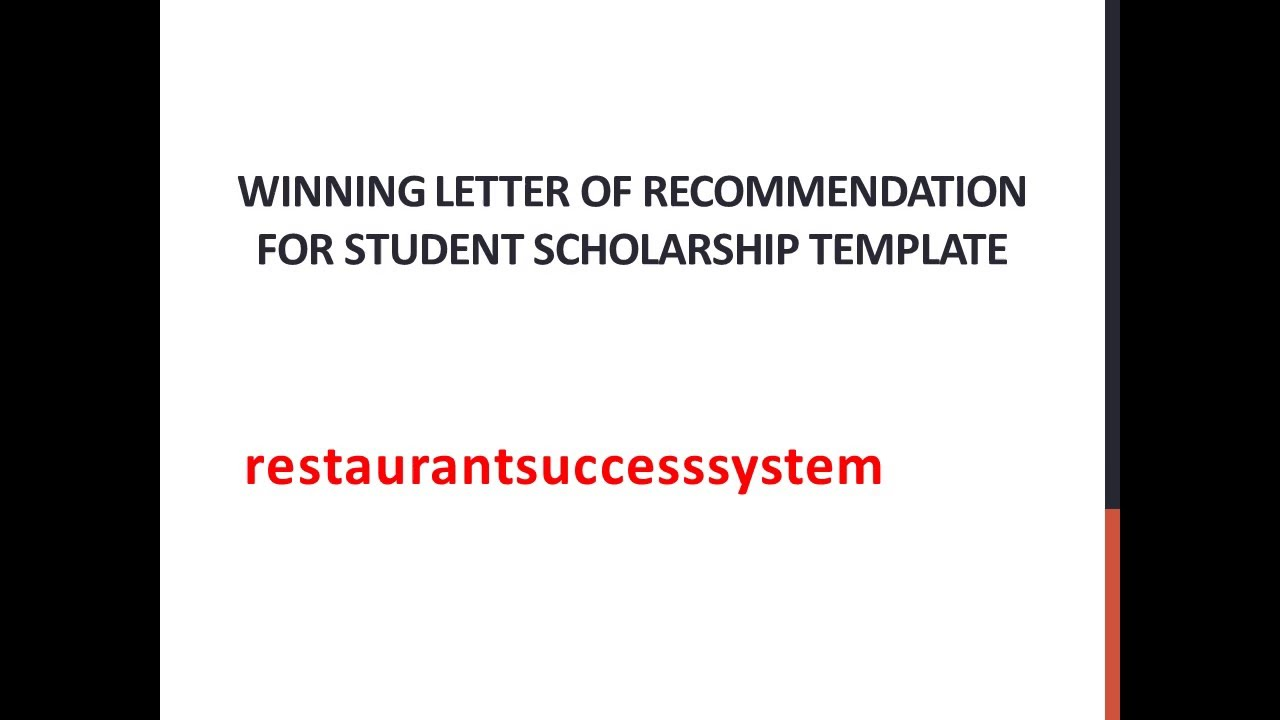 Winning Letter Of Recommendation For Student Scholarship Template