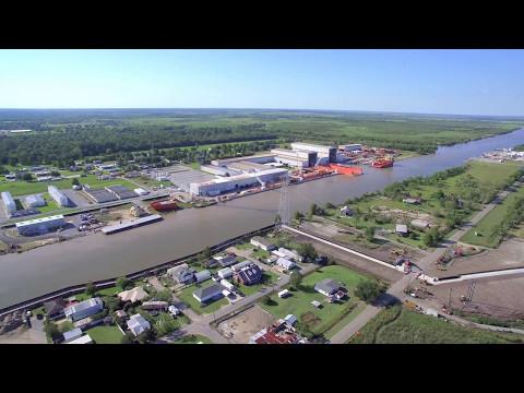 Aerial View of Larose, Louisiana South of Intracoastal Waterway