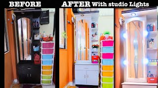 Makeover | Organization of Small Dressing Table | With studio light | DIY