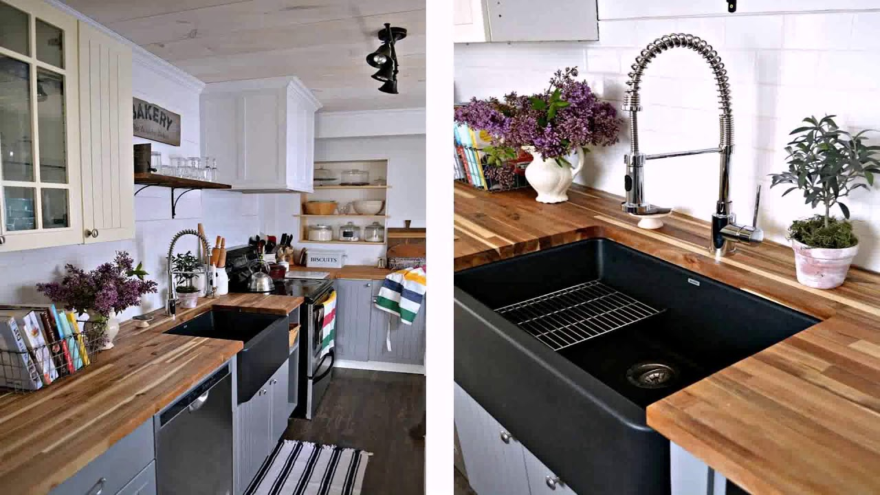 White Kitchen Cabinets With A Black Island - YouTube