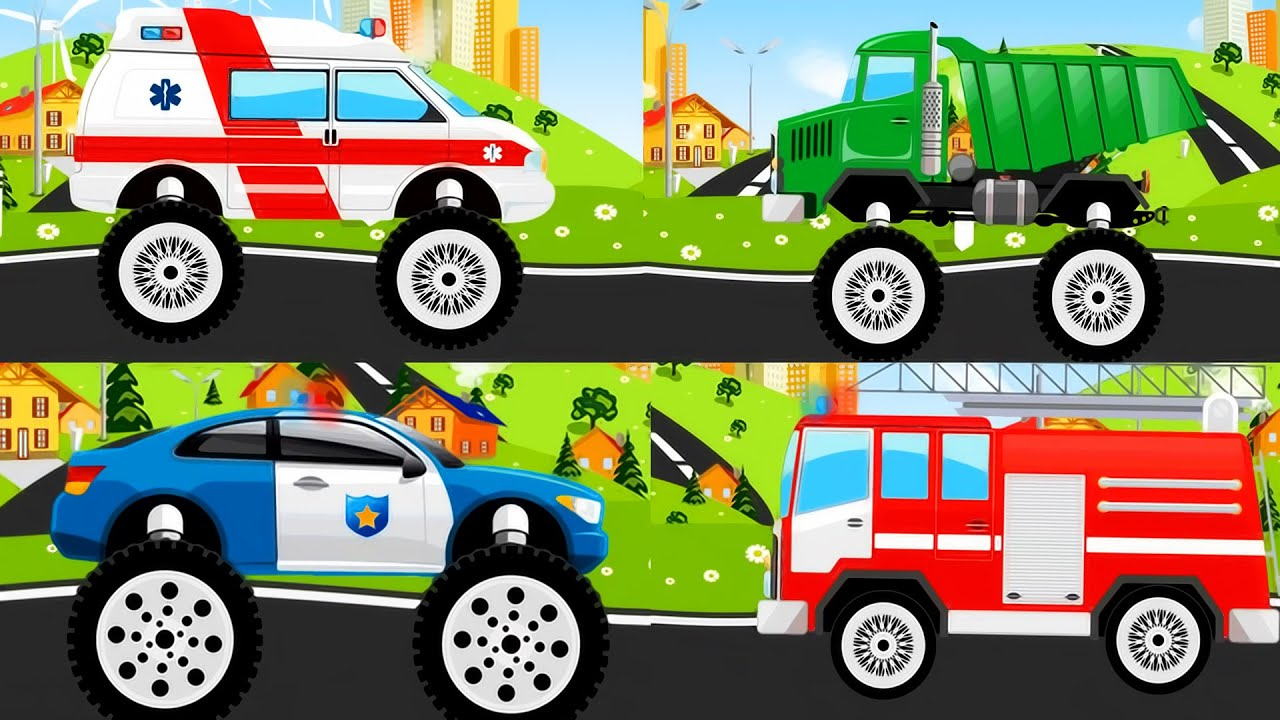 Monster Truck Police Car Ambulance Fire Truck For Kids Youtube